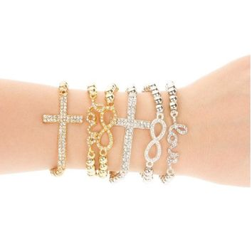 Kittenup new fashion Crystal Rhinestone Cross Love Infinity Stretch Beaded Elastic band Bracelets for women trendy jewelry