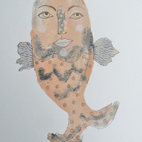Folk Art Fish - Outsider Art Fish - Cream Fish - Quirky Fish - Fish Illustrations - Mixed Media Fish Art - Fish Paintings - Fish Art