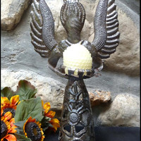 "Metal Candle Holder - Haitian Steel Drum Angel Design - 13"" High"