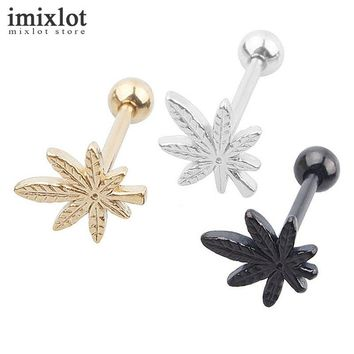 Imixlot Women Men Rock Personality Leaf Tongue Ring Body Piercing Jewelry Stainless Steel Ear Plugs and Tunnels Body Jewelry