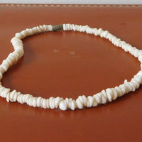 Sea Shell Choker White Hippie Necklace Beach Surfer Style Boho Jewelry Vintage