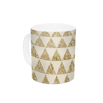 "Nika Martinez ""Glitter Triangles in Gold"" Tan Yellow Ceramic Coffee Mug"