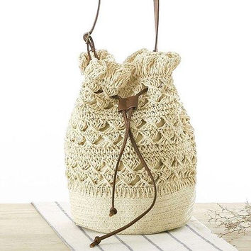 Cute Crochet and Solid Color Design Crossbody Bag For Women