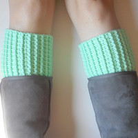 Chunky Crochet Boot Cuffs in Mint, vegan, ready to ship.