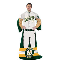 Oakland Athletics MLB Adult Uniform Comfy Throw Blanket w- Sleeves