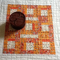 Orange and White Quilted Table Topper,  Wall Hanging, Quiltsy Handmade