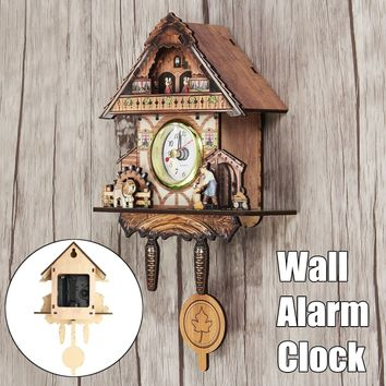 4 Type Vintage Cuckoo Wooden Battery Wall Hanging Silent Swing Clock Child Home