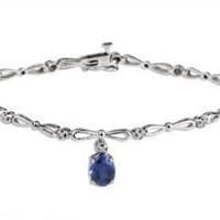 14k White Gold Oval-Cut Created Sapphire and 0.10 ctw Diamond Vintage Bracelet-: Jewelry: Amazon.com