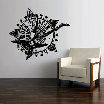 Wall Vinyl Sticker Decals Decor Art Bedroom Design Mural Rock n Roll Star Electric Guitar Words Quote Sign (z2992)