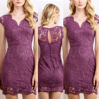 Sleeved Lace Bodycon in Violet-PREORDER SHIPS 9/29/16