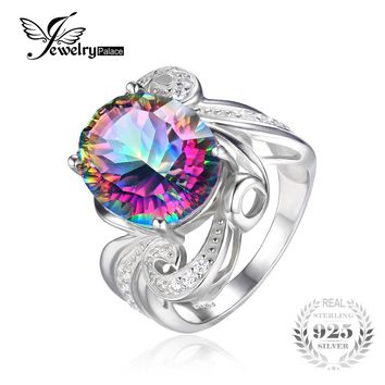 Luxury Cocktail Ring 9.5ct Genuine Gem Stone Rainbow Fire Mystic Topaz Ring Concave Pure Solid 925 Sterling Silver Jewelry Women