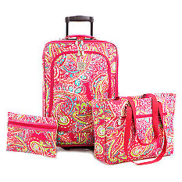 New Directions® 3-Piece Luggage Set- Pink Paisley  - Belk.com