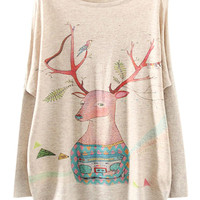 Beige Unhappy Deer Print Bat Sleeve Sweater