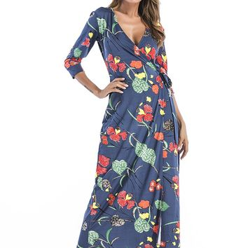 V Neck Long Sleeve Flower Print Maxi Dress