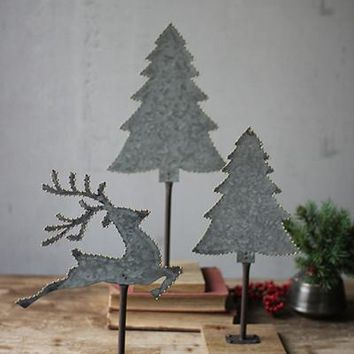 Set of 3 Galvanized Trees And Deer With Brass Dot Detail