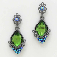 Dynasty Crystal Floral Earrings Olive Green