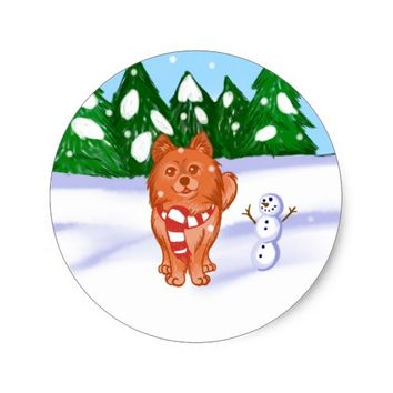 Snow Puppy Classic Round Sticker