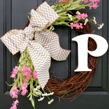 Spring Wreath Summer Wreath Wildflower Wreath Lettered Wreath Chevron Wreath Monogram Wreath Handmade Wreath Initial Wreath Front Door  Pink