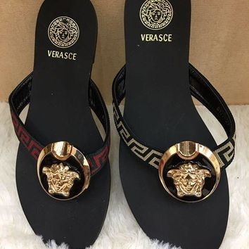 Versace Popular Women Men Casual Flat Sandal Slipper Shoes I