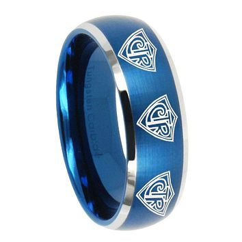 8mm Multiple CTR Dome Brushed Blue 2 Tone Tungsten Carbide Mens Wedding Band