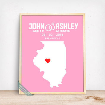 Illinois Map Print, Wedding Poster, Anniversay Gift, Custom Gift, Customized Gifts, Wedding Decor, Home Decor, Mothers Day Gift