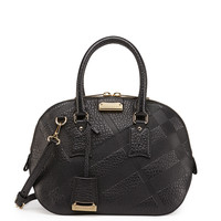 Check-Embossed Leather Satchel Bag, Black - Burberry