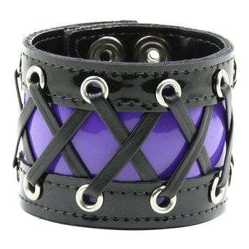 "3"" Wide Black & Purple Corset Wristband Bracelet"