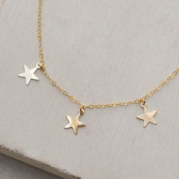 3 Star Charm Necklace - Gold