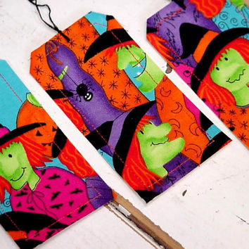 Halloween GIft Tags Original Handmade Witch Trick or Treat Party Favor Tie Ons Gift Wrap Tags Place Setting Card Labels itsyourcountry