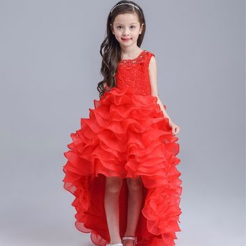 New Pretty Scoop Ivory Red Flower Girls Dresses 2016 Floor-Length Girls Holy First Communion Layered Dress for Wedding and Party
