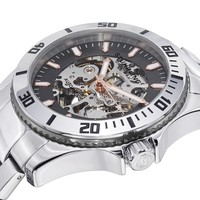 Stuhrling Original Men's 773.03 Aquadiver Antilles Stainless Steel and Gray Skeleton Dial Watch