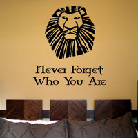 Never Forget Who You Are Lion King Quotes Removable Vinyl Wall Decal