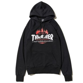 VONE7N2 Thrasher Women Men Fashion Print Long Sleeve Hoodies Sweater Black