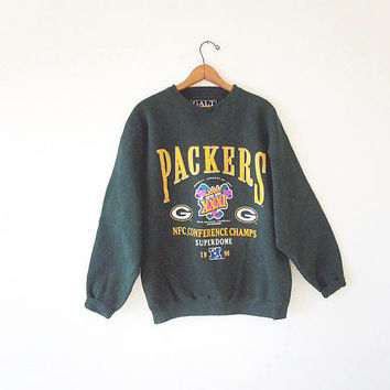 Vintage '97 Green Bay PACKERS Football Super Bowl XXXI New Orleans Mardi Gras Athletic Galt Sand Sweatshirt Sz L