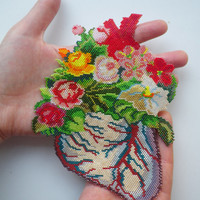 Anatomical heart necklace or patch. Flowering heart2.