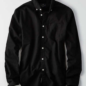 AEO Solid Oxford Button Down Shirt, Black