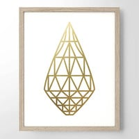 Geometric Briolette Jewel Faux Gold Foil Art Print - Geometric Art - Bedroom Decor - Wedding Gift - Home Decor - Minimalist Art -Simplistic