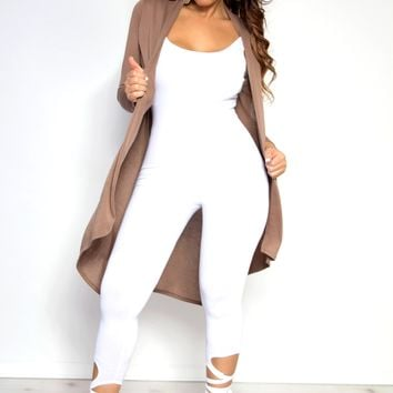 Lina Long Sleeve Open Front Draped Solid Casual Mid Length High Low Cardigan in Mocha