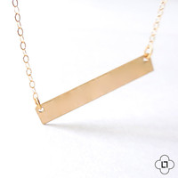 Minimal Necklace, Gold Bar Necklace, Gold Necklace, Layer Necklace, Bridesmaid Gift, Simple Necklace, Landon Lacey, Gold Filled Necklace