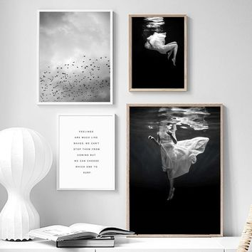 Girl Seawater Bird Sky Quote Landscape Wall Art Canvas Painting Nordic Posters And Prints Wall Pictures For Living Room Decor