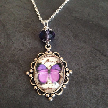 Purple Butterfly Charm Necklace