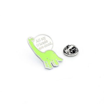 Trendy All My Friend Are Dead Brooches Dinosaur Enamel Pin for Boys Lapel Pin Hat/bag Pins Denim Jacket Shirt Women Brooch Badge Q486 AT_94_13