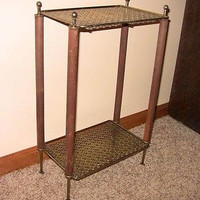 Vintage Danish Modern Shelving 2-Tier Pierced Metal Wood Stand