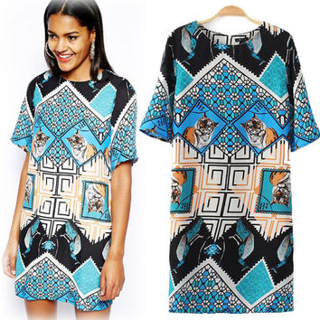 Blue Geometric Tiger Print Short-Sleeve Shift Dress