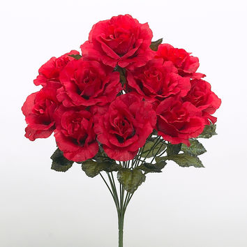 Rose Bush with Silk Red Flowers - 19 Inch  BLOW OUT SALE !! 50% OFF