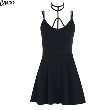 Women 3 Colors Halter Sexy Cut Out Strappy Cami Slim A Line Skater Mini Dress New Summer Novelty Tied Zip Back Clothing