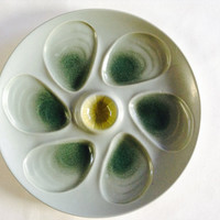 French Vintage Oyster Plate Salins Majolica