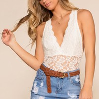Loraine Lace Bodysuit - White