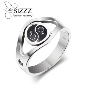 SIZZZ  Fashion Women Rings Black Female Symbol Design Silver Plated Jewelry Resin Party Rings