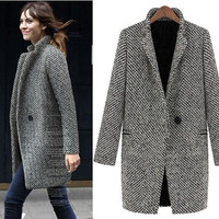 EsnaView Women Girl Woolen Trentch Overcoat Fashion Clothing Outwear Long Warm Thick Vintage Style Celebrities for Winter Christmas Gift